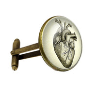 Wholesale personalized cufflinks - FT-CK111 New Cufflinks Steampunk Heart Personalized Cufflink Anatomy Heart Cufflinks Men Accessories Cuff link For Gifts