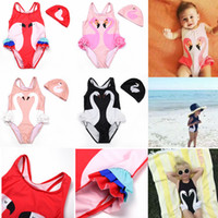 Wholesale baby clothing one piece - Girl Bikini INS Flamingo Swimwear Swan Parrot Swimsuits Cartoon Printed Bathing Suits Swimming Caps Kids Beachwear Baby Clothing Sets AAA445