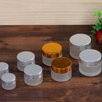 Wholesale gold cream jars online - 5g g g g g Frost Glass Cream Jar with Silver gold Cap Glass Packing Jars Empty Cream Jar Cosmetic Glass Jars