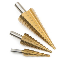 ingrosso foro di taglio del foro-3pcs 4-12 / 20 / 32mm HSS acciaio grande passo Cono Cut Set strumenti di trapano punte di trapano in titanio Hole Cutter Durevole metallo rivestito Drill Bit