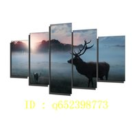 Wholesale Sunrise Oil Painting - Deer,forest Morning Sunrise Fog Winter,5 Pieces HD Canvas Printing New Home Decoration Art Painting  Unframed   Framed