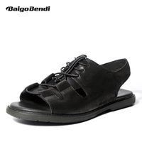 кожаные сандалии оптовых-Trendy Men REAL Leather Sandals Pure Black Lace Up Gladiator Rome Sandals Casual Summer Beach Shoes Retro