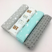 Wholesale cartoon baby cot - 4pcs  Lot Newborn Baby Bed Sheet Bedding Set 76x76cm For Newborn Crib Sheets Cot Linen 100 %Cotton Flannel Printing Baby Blanket