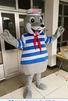 Wholesale sea mascot - hot sell High quality Navy Sea Lion mascot costume Mascot Cartoon Character Costume Adult Size free shipping