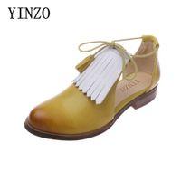 кожаные сандалии оптовых-YINZO enuine Leather flat Sandals shoes women handmade vintage tassel sheepskin Plus Size 35-42 Summer Women's Sandals
