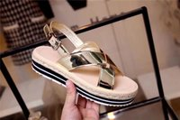 Wholesale comfortable gold sandals - Hot Famous Brand Women's Flat Heel Ankle-Wrap Sandals Spring Summer Classic Casual Ventilation Comfortable Genuine Leather Slippers