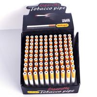 aluminium-minischläuche großhandel-100 Teile / los 78mm55mm Zigarette Form Pfeifen Mini Hand Tabakpfeifen Schnupftabak Rohr Aluminium Rauchen Zubehör Dabbers Bubblers Bowl
