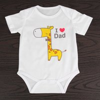 Wholesale elephant print baby clothes resale online - Baby Cartoon Giraffe Elephant Print Rompers Cute Infant Newborn Boys Girls Short Sleeve Clothes Soft Jumpsuits Toddler For M