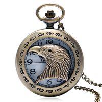 reloj de cuarzo de diseño vintage al por mayor-Vintage Hollow Eagle Hawk Design reloj de bolsillo hombres reloj de bolsillo de cuarzo Fob reloj Relogio De Bolso reloj de bolsillo collar