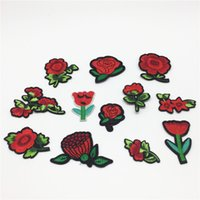 Wholesale Iron Fabric Flowers - 24pcs Mixed Flowers Patches Iron On Fabric Rose Lotus Embroidered Patch Badges Sew On Cloth Stickers 4~6.5cm