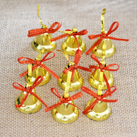 ingrosso ornamenti di natale di jingle campana-Oro libero di trasporto 36pcs / lot Mini arco 3cm / 4cm Natale Jingle Bell Ornamenti decorativi di marca con le lettere di Natale
