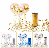 Wholesale curling ribbon wholesale - 10pcs Clear and transparent Confetti Ballons with 100Y Curling Ribbon Wedding Balloons Happy Birthday Balloon Wedding Event Party Decor