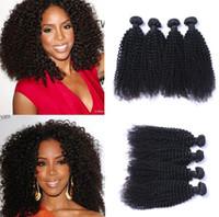 tejido de pelo malaysain al por mayor-4 unids / lote Malaysain Kinky Curly Virgin Weave Remy Extensiones de cabello humano Color natural No derramar enredo libre Puede ser teñido blanqueado