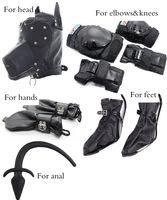 Wholesale dog gear sex resale online - LEATHER BONDAGE HOOD Mask Headgear dog palm feet knees elbows protective gear Sex product toys