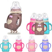 Wholesale 240ml Baby Silicone Glass Feeding Bottle safe Milk Bottles Gift Infant Juice Drinking Water Handle Feeding Kids Cup Nursing Feeder