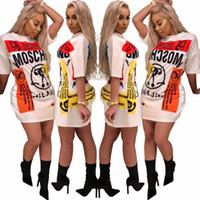 Wholesale fashion dress online - 2018 fashion T shirt dress female Short Sleeved Shirt Mini Dresses stitching Casual Long T shirts Summer White Dress Women clothes Vestidos