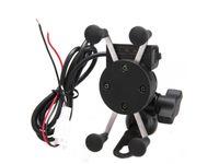 suporte de navegação venda por atacado-Suporte universal da montagem do telemóvel da motocicleta com carregador de USB, braçadeira da X-Aperto Suporte de navegação da motocicleta / bicicleta / telefone móvel