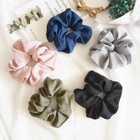 Wholesale Girls Elastic Pony Tail Holders - 5 Color Women Girls Pure Color Cloth Elastic Ring Hair Ties Accessories Ponytail Holder Hairbands Rubber Band Scrunchies