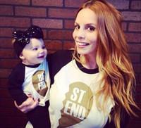 camisa de bebé madre al por mayor-Trajes a juego para la familia Ropa a juego para la madre y el bebé Manga larga de algodón MEJOR AMIGA Carta Camiseta Tops Mamá y yo ropa Ropa de mujer