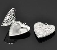 gümüş kalp ayarları toptan satış-LASPERAL 10 Gümüş Renk Kalp Şekli Fotoğraf Çerçevesi Kolye Cameo Ayarları Bezemeler Cabochon Bankası 26x26mm