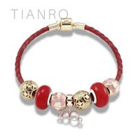 китайские кольца браслеты оптовых-TIANRO  Chinese elements home beaded leather braided rope Bracelet 4 rings charm design ladies and kids diy Bracelet