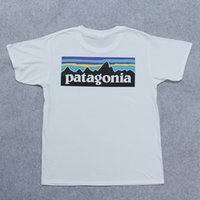 Wholesale letter couple shirts - patagonia men t shirts women summer cotton tees skateboard couple t shirts loose fashion streetwear black white