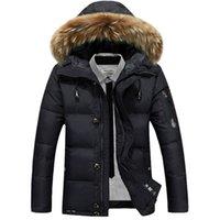 yüksek markalı giyim ceketi toptan satış-Yeni marka giyim ceket eklemek kalın sıcak erkekler aşağı ceket tutmak yüksek kalite kürk yaka kapşonlu aşağı ceket kış ceket Erkek