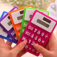 Wholesale Free Mini Calculator - Solar Silicone Calculator Fold Rolled Up Portable Pocket Calculators Mini Handheld Ultra-thin Card Free Shipping ZA5574
