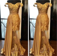 Wholesale evening gowns for sale - 2019 Off The Shoulder Long Evening Dresses Arabic Golden Tulle Applique Ruched Beaded Floor Length Pageant Formal Party Gowns Prom BA9946