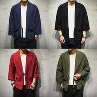 e86fa4a3879c Sinicism Store Cotton Linen Shirts Men Kimono Traditional Open Stitch Shirt  Belt Pocket Male Three Quarter Sleeve Shirt Harajuku