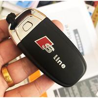 ingrosso badge adesivo audi-4PCS lega di nichel Sline specchietto retrovisore adesivo serbatoio di carburante distintivo S LINE Key Fob adesivi per Audi A3 A5 A6 A7 A8 RS Q3 Q5 Q7 TT