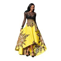 Wholesale Flare Maxi Skirt - Skirt African Print Clothing 2018 Boho Summer Beach Maxi Skirts Vintage Flare High Waist Tribal Print Jupe Longue Femme