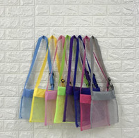 Wholesale square toy colors for sale - Group buy 24 cm Kids Beach Mesh Bag Shell Storage Net Bag Adjustable Straps Tote Toy Mesh Outdoor Handbag Colors AAA639
