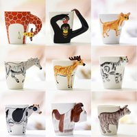 Wholesale Cute Animals Paintings - Cute Milk Cup Heat Resisting 3D Animal Shape Hand Painted Ceramic Mug Gifts Many Styles 13 5xd C R