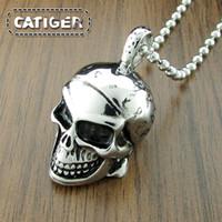 piratenanhänger edelstahl großhandel-Punk 316L Edelstahl Silber Weiß Schwarz Taschentuch Pirate Skull Anhänger (Enthalten die Kugelkette Kostenlos)