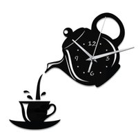 Wholesale Coffee Cup Wall Clocks - Creative DIY 3D Acrylic Wall Clock Coffee Cup Teapot Kitchen Decorative Wall Clocks Living Room Fashion Home Decor Clock