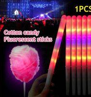 Wholesale colorful stick - 28cm Glow LED Cotton Candy Sticks For Christmas Colorful LED flashing Cotton Candy Cones Reusable Christmas Party LED Sticks KKA283 120PCS
