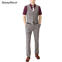 männer taille mantel hose großhandel-Herren Weste Taille Mantel mit Hosen 2 Stück Set für Business-Anzug Karriere tragen grau schwarz Navy Wein lila Farbe