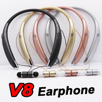 Wholesale silver cell phone music for sale - Group buy 2 in V8 earphone loudspeaker handfree wireless stereo handfree sports inear earphone supper bass music headset with microphone