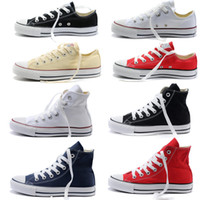 Wholesale white canvas sneakers wholesale - NEW size35-46 Unisex Low-Top & High-Top Adult Women's Men's Big Kids Canvas Shoes 15 colors Laced Up Casual Shoes Sneaker shoes D3508