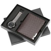 männlicher geschenkset großhandel-Lässige Herrenuhr Handgelenk Quarz Uhr Brieftasche Geschenk Set für Freund Luxus reloj Stahl Armreif Uhr Geschenk für Männer Neue 2018