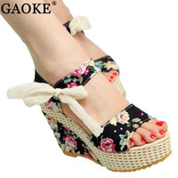 Wholesale flower wedges sandals - Shoes Women 2018 Summer New Sweet Flowers Buckle Open Toe Wedge Sandals Floral high-heeled Shoes Platform Sandals