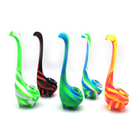 Wholesale foldable silicone water pipe resale online - Multi colors Ness monster water pipe Foldable Silicone Tobacco Easy cleaning silicone bongs FDA food grade silicone material