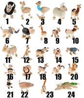 Wholesale Model Farm - Free shipping New arrival 24models mixed Anamalz wooden action animal toy,farm Animal model dollls wholesale