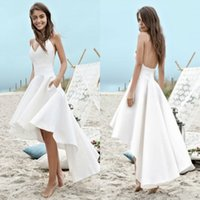 Wholesale summer beach high low wedding dress online - Cheap under Summer Wedding Dresses A Line Beach Boho Bridal Gowns High Low Backless Spaghetti Straps Holiday Gowns