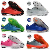 zapatos de fútbol al aire libre de interior al por mayor-Nuevo interior rojo CR7 botas de fútbol tamaño 39-45 Mercurial Superfly V blanco plata CR7 FG zapatos de fútbol para hombre mujeres niños al aire libre fútbol calas