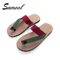 Wholesale Men Leather Sweats - Spring Men's Flax Home Slippers Indoor Floor Shoes Cross Belt Silent Sweat Linen Slippers For Summer Male Flats Sandals nx5