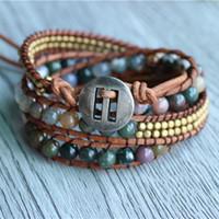 natursteinschmuck indien großhandel-Triple India Stone auf Naturleder Strand Armbänder für handgemachten Schmuck Großhandel Schmuck für gewebte Armbänder