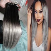 mikro döngüler saç toptan satış-Ombre T1B / Gri Düz Gümüş Ombre Mikro Döngü İnsan Saç Uzantıları 100% İnsan Mikro Boncuk Linkler Makine Yapımı Remy Saç Uzatma