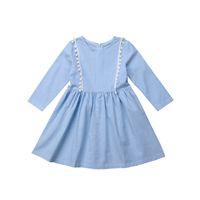 детские платья для малышей оптовых-Toddler Kid Baby Girl Dress Autumn Blue Round Neck Tassel Long Sleeve Tutu Party Pageant Formal Casual Cotton Dresses Clothes